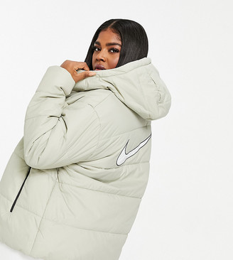 Nike Plus puffer jacket with back swoosh in white
