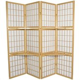 Oriental Furniture Office Partition, 65-Inch Japanese Shoji Privacy Floor Screen Room Divider with Double Shelf