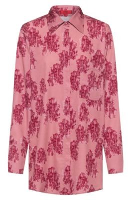 HUGO BOSS Relaxed Fit Blouse In Toile Printed Crepe - Patterned