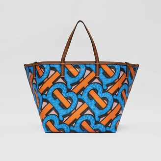Burberry Mini Monogram Print E-canvas Beach Tote