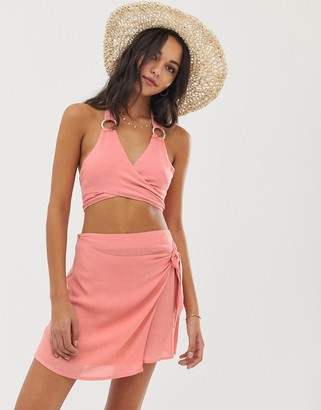 Fashion Union Silvia wrap top with ring detail and beach skirt co-ord in orange
