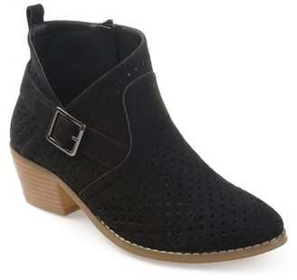 Brinley Co. Women's Perforated Faux Suede Stacked Heel Asymmetrical Booties
