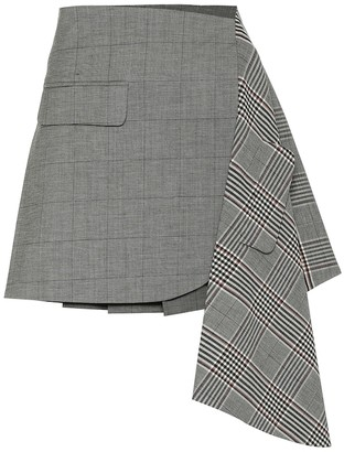 Monse Checked wool and cotton miniskirt
