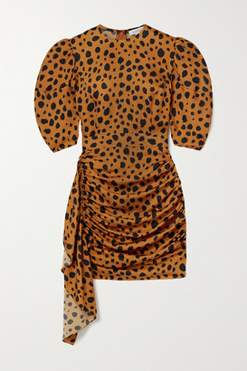 Rhode Resort Pia Ruched Draped Animal-print Satin Mini Dress - Orange