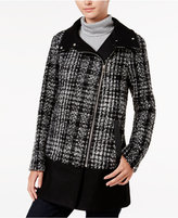 Bar III Asymmetrical Plaid Walker Coat, Only at Macy's