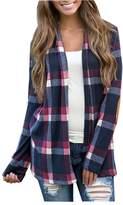 CutyKids Womens Long Sleeve Plaid Striped Open Front Cardigan Coat Dark Blue S