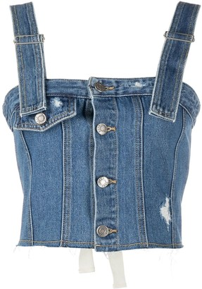 Sjyp Cropped Lace-Up Denim Top