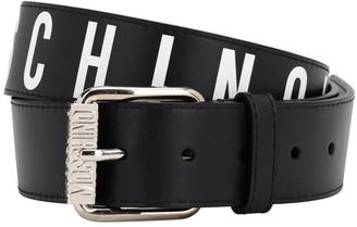 Moschino 4cm Logo Print Leather Belt