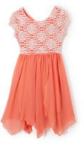 Speechless Coral & White Lace Handkerchief Dress - Girls