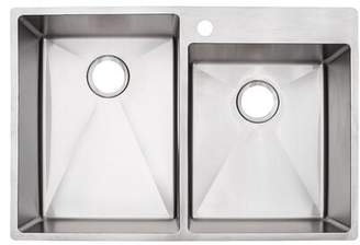 "Franke Vector Stainless Steel 33"" L x 22"" W Double Basin Dual Mount Kitchen Sink"