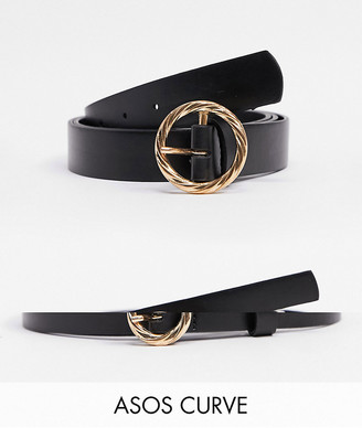 ASOS DESIGN Curve 2 pack twisted buckle waist and hip belts in black