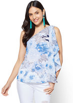 New York & Co. Chiffon-Overlay One-Shoulder Blouse
