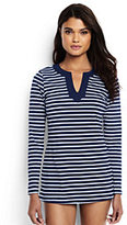 Lands' End Women's Petite Long Sleeve Swim Tunic Rash Guard-Deep Sea/White Media Stripe