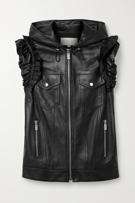 Michael Kors Ruffled Leather Vest - Black