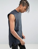 New Look Longline Sleeveless T-Shirt In Washed Black