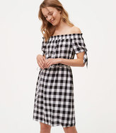 LOFT Tall Gingham Tie Off The Shoulder Dress