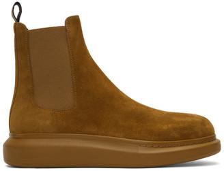 Alexander McQueen Beige Suede Chelsea Boots
