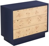 The Well Appointed House William Chest with Burl Veneer Drawers & Navy Lacquer Frame
