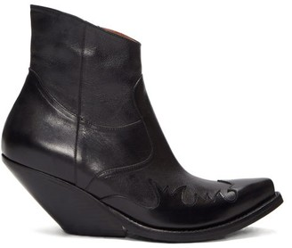 Vetements Slanted-heel Western Leather Ankle Boots - Black