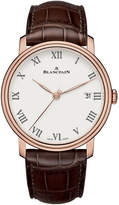 Blancpain 6630-3631-55b 18ct Rose Gold And Leather Watch