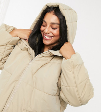 ASOS DESIGN Curve puffer jacket in cappuccino