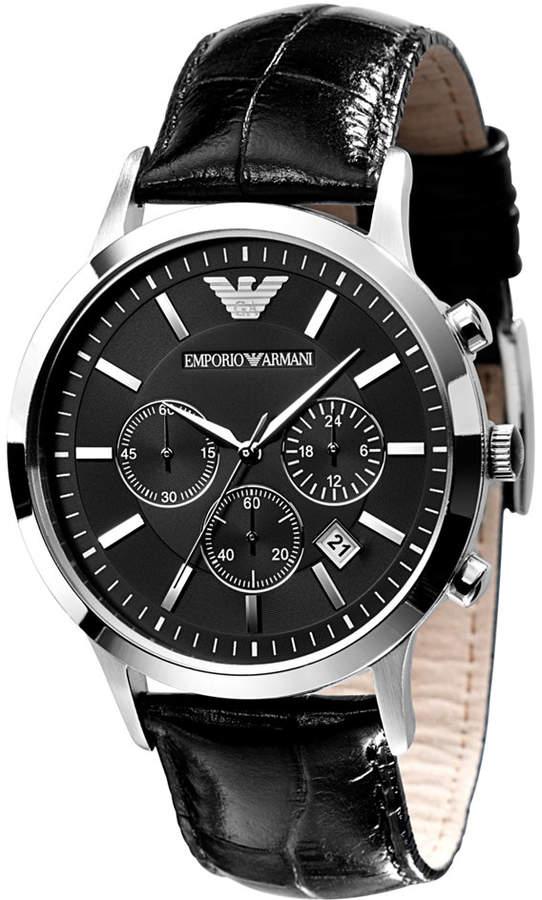 Emporio Armani Watch, Men's Black Leather Strap AR2447