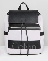 Calvin Klein Re-Issue Exclusive Fold Over Backpack Scuba Lilac Backpack