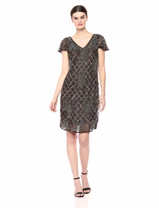 Pisarro Nights Women's V-Neck Short Dress with lace and Beading Details