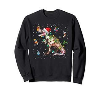 dinosaur Lights with Santa Hat Christmas Pajamas Funny Gifts Sweatshirt