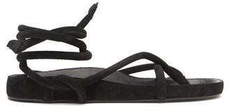 Isabel Marant Lastro Wraparound Suede Sandals - Womens - Black