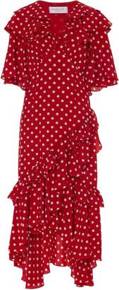 Michael Kors Ruffled Polka-Dot Crepe De Chine Dress