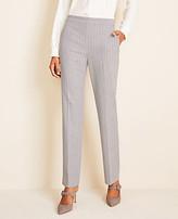 Ann Taylor The Petite Side-Zip Straight Pant in Pinstripe Bi-Stretch