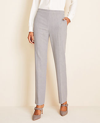 Ann Taylor The Petite Side-Zip Straight Pant in Pinstripe Bi-Stretch