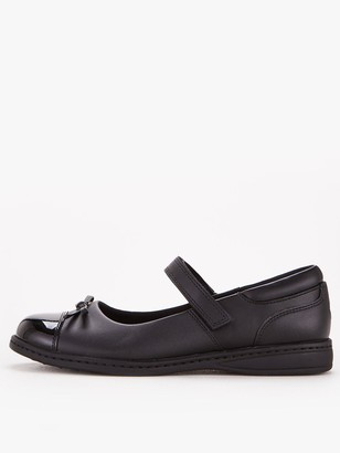 Very Older Girls Mary Jane Leather School Shoe - Black