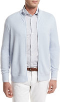 Loro Piana Cashmere Zip-Front Bomber Cardigan, Light Blue
