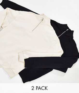 ASOS DESIGN oversized sweatshirt with half zip 2 pack in beige/black