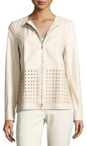 Lafayette 148 New York Bari Perforated Leather Jacket, Oyster