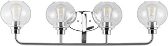 Jonathan Y Designs Sandrine 36In 4-Light Iron/Seeded Glass Cottage Rustic Led Vanity Light