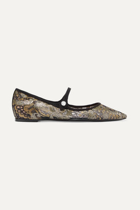 Tabitha Simmons Hermione Sequined Lace And Canvas Point-toe Flats - Gray