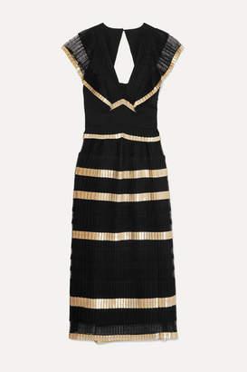 Temperley London Phantom Pleated Organza, Swiss-dot Tulle And Lame Dress - Black