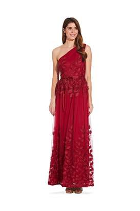 Adrianna Papell Shirred One Shoulder Ball Gown