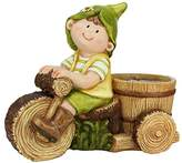 Northlight Young Boy Gnome Riding Bicycle with Flower Pot Outdoor Garden Patio Planter