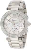 Freelook Women's HA1539-4 Silver Mother-Of-Pearl Chronograph Dial Silver Swarovski Bezel Watch