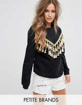 Glamorous Petite Relaxed Sweatshirt With Chevron Tassel Trim