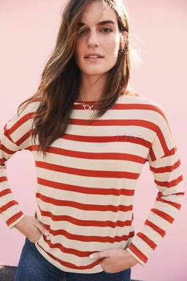 Next Womens Red Stripe Long Sleeve Top - Red