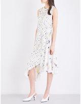 Topshop floral-print satin-jacquard dress