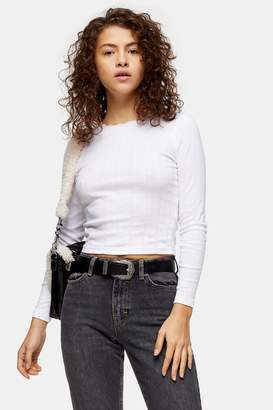Topshop Womens Petite White Pointelle Long Sleeve T-Shirt - White