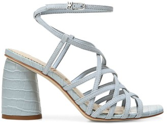 Sam Edelman Daffodil Ankle-Wrap Croc-Embossed Leather Sandals