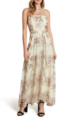 Tahari Embroidered Mesh Gown