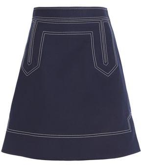 KHAITE Embroidered Cotton-gabardine Mini Skirt